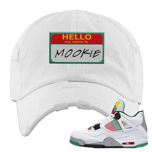 Jordan 4 WMNS Carnival Sneaker White Distressed Dad Hat | Hat to match Do The Right Thing 4s | Hello My Name Is Mookie