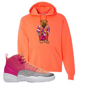 Air Jordan 12 GS Hot Punch Sweater Bear Retro Heather Coral Sneaker Matching Pullover Hoodie