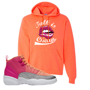 Air Jordan 12 GS Hot Punch Talk is Cheap Retro Heather Coral Sneaker Matching Pullover Hoodie