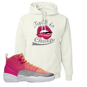 Air Jordan 12 GS Hot Punch Talk is Cheap White Sneaker Matching Pullover Hoodie