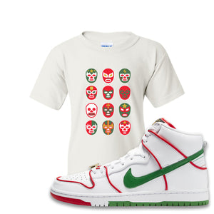 Paul Rodriguez's Nike SB Dunk High Sneaker White Kid's T Shirt | Kid's Tees to match Paul Rodriguez's Nike SB Dunk High Shoes | Luchador Masks