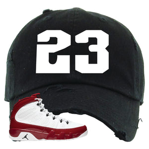 Air Jordan 9 Gym Red Distressed Dad Hat | Jordan 9 23, Black