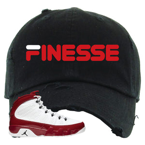 Air Jordan 9 Gym Red Distressed Dad Hat | Finesse, Black