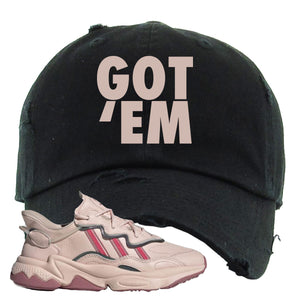 Women Ozweego Icy Pink Distressed Dad Hat | Got Em, Black