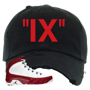 Air Jordan 9 Gym Red Distressed Dad Hat | IX, Black