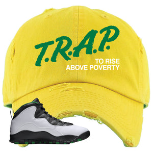 Jordan 10 Seattle Supersonics Distressed Dad Hat | Trap To Rise Above Poverty, Gold