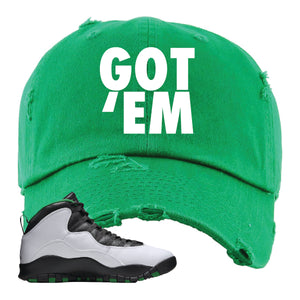 Jordan 10 Seattle Supersonics Distressed Dad Hat | Got Em, Kelly