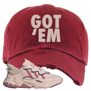 Women Ozweego Icy Pink Distressed Dad Hat | Got Em, Maroon