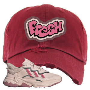 Women Ozweego Icy Pink Distressed Dad Hat | Fresh, Maroon