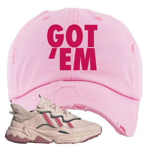 Women Ozweego Icy Pink Distressed Dad Hat | Got Em, Pink