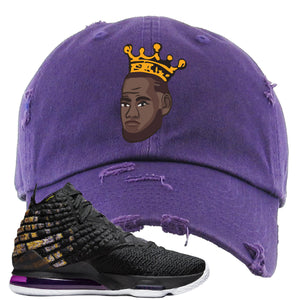 Lebron 17 Lakers Basketball King Purple Sneaker Hook Up Distressed Dad Hat