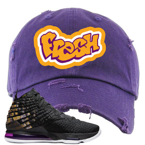 Lebron 17 Lakers Fresh Purple Sneaker Hook Up Distressed Dad Hat