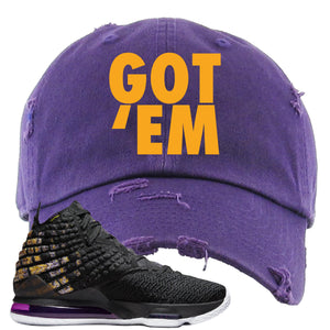 Lebron 17 Lakers Got Em Purple Sneaker Hook Up Distressed Dad Hat
