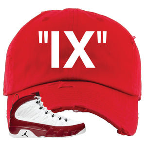 Air Jordan 9 Gym Red Distressed Dad Hat | IX, Red