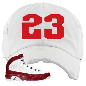 Air Jordan 9 Gym Red Distressed Dad Hat | Jordan 9 23, White