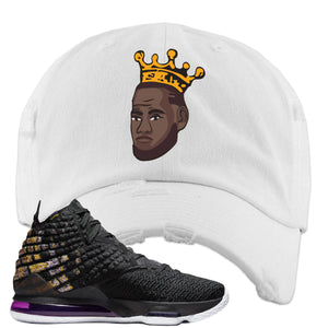 Lebron 17 Lakers Basketball King White Sneaker Hook Up Distressed Dad Hat