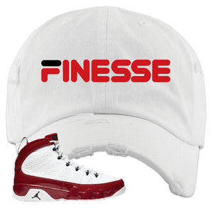 Air Jordan 9 Gym Red Distressed Dad Hat | Finesse, White