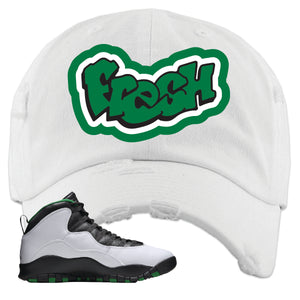 Jordan 10 Seattle Supersonics Distressed Dad Hat | Fresh, White