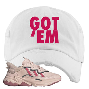 Women Ozweego Icy Pink Distressed Dad Hat | Got Em, White