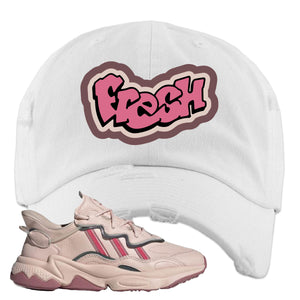 Women Ozweego Icy Pink Distressed Dad Hat | Fresh, White