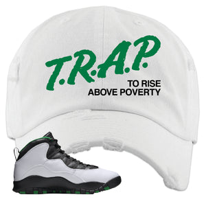 Jordan 10 Seattle Supersonics Distressed Dad Hat | Trap To Rise Above Poverty, White