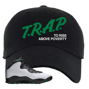 Jordan 10 Seattle Supersonics Dad Hat | Trap To Rise Above Poverty, Black