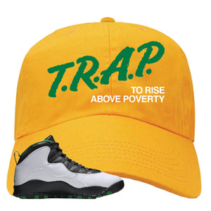 Jordan 10 Seattle Supersonics Dad Hat | Trap To Rise Above Poverty, Gold