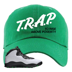 Jordan 10 Seattle Supersonics Dad Hat | Trap To Rise Above Poverty, Kelly