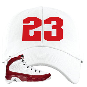 Air Jordan 9 Gym Red Dad Hat | Jordan 9 23, White