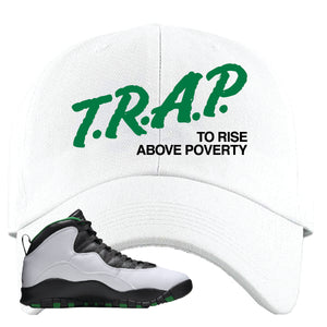 Jordan 10 Seattle Supersonics Dad Hat | Trap To Rise Above Poverty, White