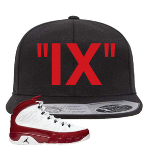 Air Jordan 9 Gym Red Snapback Hat | IX, Black