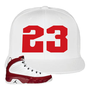 Air Jordan 9 Gym Red Snapback Hat | Jordan 9 23, White