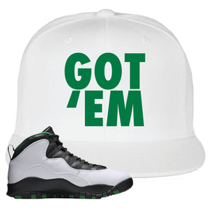 Jordan 10 Seattle Supersonics Snapback Hat | Got Em, White