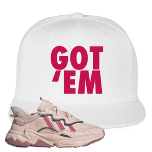 Women Ozweego Icy Pink Snapback Hat | Got Em, White