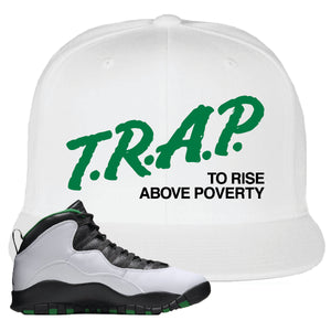 Jordan 10 Seattle Supersonics Snapback Hat | Trap To Rise Above Poverty, White