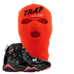 Jordan 7 WMNS 'Black Patent Leather' Ski Mask | Trap To Rise Above Poverty, Safety Orange