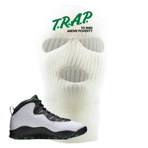 Jordan 10 Seattle Supersonics Ski Mask | Trap To Rise Above Poverty, White