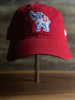 ATHLETICS DAD HAT | PHILADELPHIA ATHLETICS WHITE ELEPHANT LOGO | 9TWENTY (920) DAD HAT | RED | OSFM