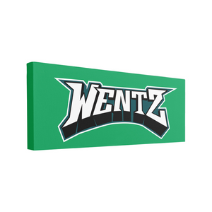 Wentz Logo Canvas | Carson Wentz Name Logo Kelly Green Wall Canvas the front of this canvas has the wentz arch design