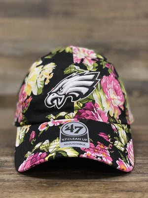 front of Philadelphia Eagles Black Floral Dad hat Roseman Clean Up Adjustable Dad Hat