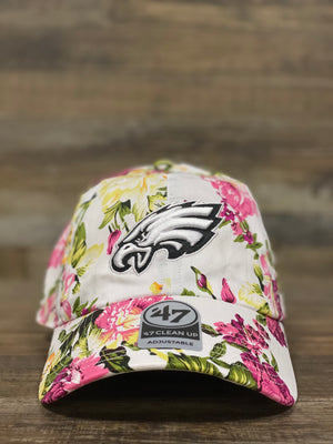 Eagles Dad Hat | Philadelphia Eagles White Floral Dad Hat | OSFM