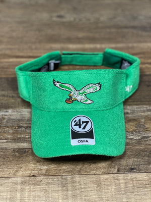 Philadelphia Eagles Throwback Logo Terry Cloth Kelly Green Adjustable Visor