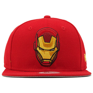 the retro iron man vintage marvel comics snapback hat is solid red with an iron man mask logo embroidered on the front