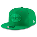 On the front of the 2018 On Field New York Jets Sideline Snapback Hat the New York Jets logo is embroidered in solid green