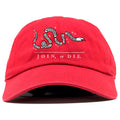 on the front of the red join or die dad hat is the join or die snake logo embroidered in white and black