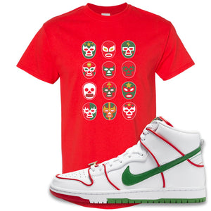 Paul Rodriguez's Nike SB Dunk High Sneaker Red T Shirt | Tees to match Paul Rodriguez's Nike SB Dunk High Shoes | Luchador Masks