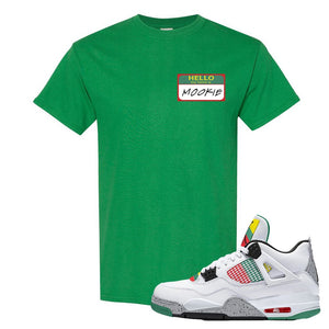 Jordan 4 WMNS Carnival Sneaker Turf Green T Shirt | Tees to match Do The Right Thing 4s | Hello My Name Is Mookie