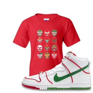 Paul Rodriguez's Nike SB Dunk High Sneaker Red Kid's T Shirt | Kid's Tees to match Paul Rodriguez's Nike SB Dunk High Shoes | Luchador Masks