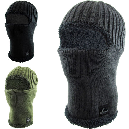 The sherpa lined ski-mask has a sherpa lining and is available in black, green and gray