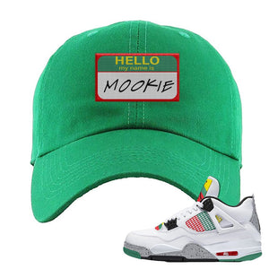 Jordan 4 WMNS Carnival Sneaker Kelly Dad Hat | Hat to match Do The Right Thing 4s | Hello My Name Is Mookie